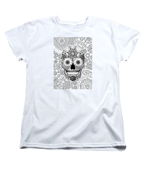 Sugar Skull Bleached Bones - Copyrighted Women's T-Shirt (Standard Cut) by Christopher Beikmann