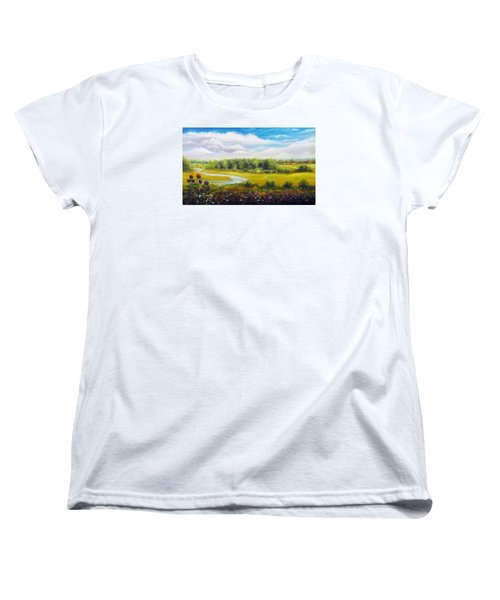 Women's T-Shirt (Standard Cut) featuring the painting Summer Day by Vesna Martinjak