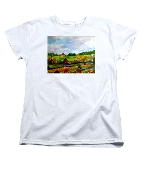 Women's T-Shirt (Standard Cut) featuring the painting Summer's End by Julie Brugh Riffey
