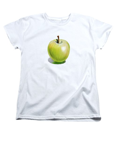 Women's T-Shirt (Standard Cut) featuring the painting Sun Kissed Green Apple by Irina Sztukowski