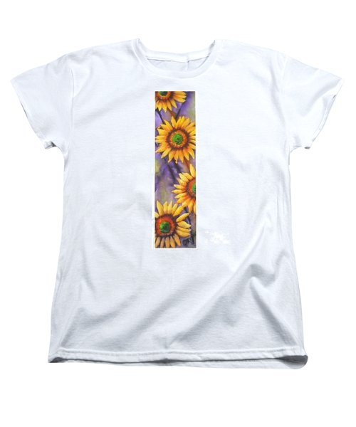 Women's T-Shirt (Standard Cut) featuring the painting Sunflower Abstract  by Chrisann Ellis