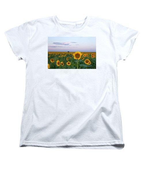 Sunflowers At Sunrise Women's T-Shirt (Standard Cut) by Ronda Kimbrow