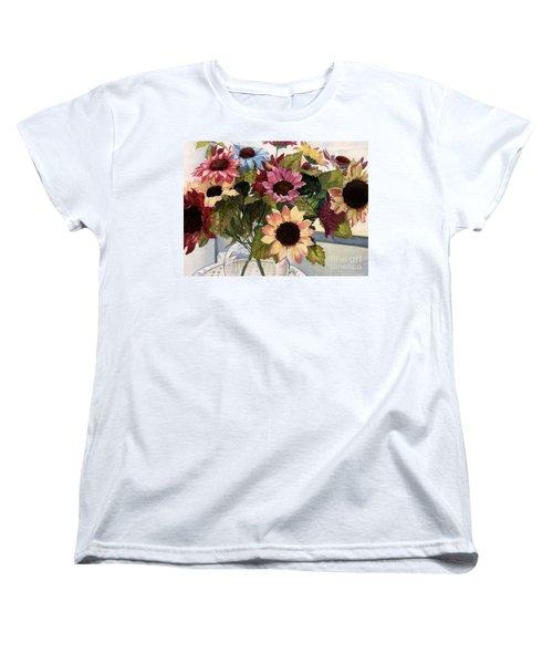 Sunflowers Women's T-Shirt (Standard Cut) by Barbara Jewell