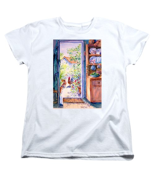 Sunlit Cottage Doorway  Women's T-Shirt (Standard Cut) by Trudi Doyle