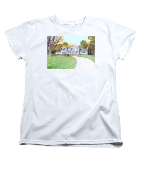 Women's T-Shirt (Standard Cut) featuring the painting Sunset House In Fall by Albert Puskaric