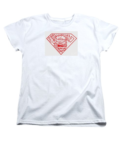 Superman And Doomsday Red Women's T-Shirt (Standard Cut) by Justin Moore