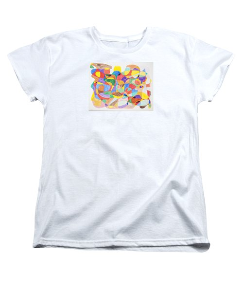 Women's T-Shirt (Standard Cut) featuring the painting Abstract Dance Party  by Stormm Bradshaw