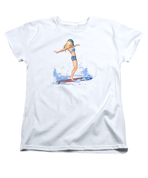 Surfing Girl Women's T-Shirt (Standard Cut) by Renate Janssen