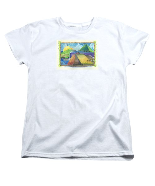 Women's T-Shirt (Standard Cut) featuring the painting Surreal Landscape 1 by Christina Verdgeline