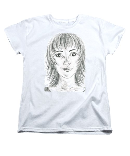Women's T-Shirt (Standard Cut) featuring the drawing Portrait Stunning by Teresa White