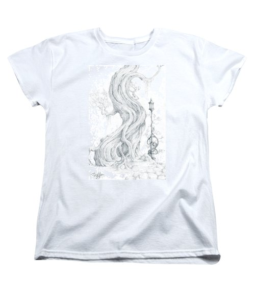 Women's T-Shirt (Standard Cut) featuring the drawing Sylvia And Her Lamp Drawing by Curtiss Shaffer