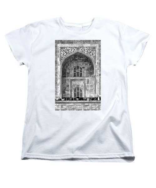 Taj Mahal Close Up In Black And White Women's T-Shirt (Standard Cut) by Amanda Stadther