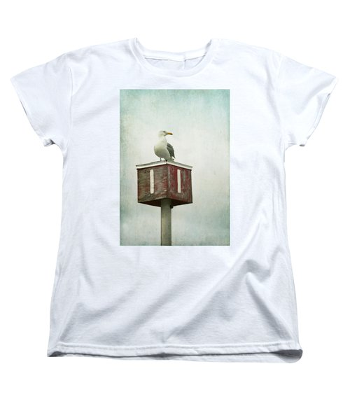 Women's T-Shirt (Standard Cut) featuring the photograph Gull With Blue And Red by Brooke T Ryan