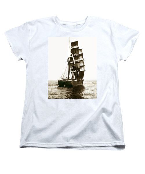 Women's T-Shirt (Standard Cut) featuring the photograph Tall Ship Germania Out Of San Francisco California  Circa 1900 by California Views Mr Pat Hathaway Archives