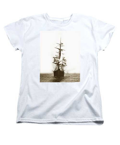 Women's T-Shirt (Standard Cut) featuring the photograph Tall Ship Sailing Out Of San Francisco California Circa 1900 by California Views Mr Pat Hathaway Archives