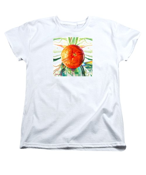 Women's T-Shirt (Standard Cut) featuring the painting Tangerine Orb Nouveau by Robin Moline