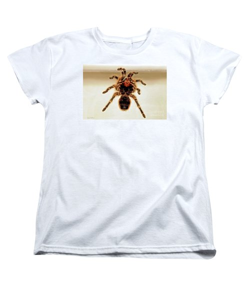 Women's T-Shirt (Standard Cut) featuring the photograph Tarantula Hanging On Glass by Susan Wiedmann