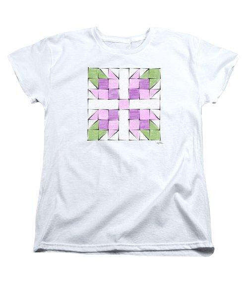 Tea Rose Quilt Block Women's T-Shirt (Standard Cut) by Sandy MacGowan