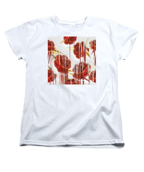 Tear-stained Roses Women's T-Shirt (Standard Cut) by Liane Wright