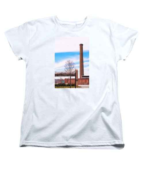Women's T-Shirt (Standard Cut) featuring the photograph Historical Textile Mill Smoke Stack In Columbus Ga by Vizual Studio