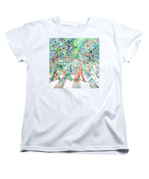 The Beatles - Abbey Road - Watercolor Painting Women's T-Shirt (Standard Cut)