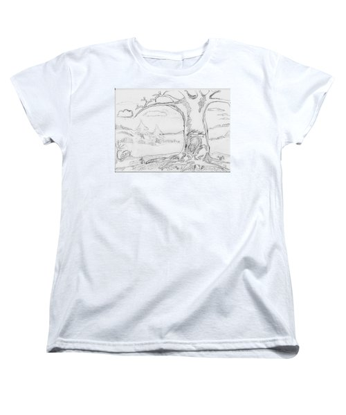 Women's T-Shirt (Standard Cut) featuring the painting The Big Oak  by Felicia Tica