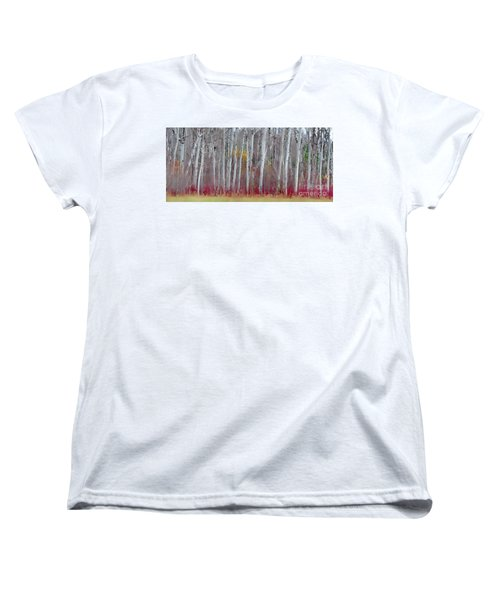 The Birches Panorama  Women's T-Shirt (Standard Cut) by Andrea Kollo