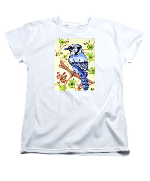 Women's T-Shirt (Standard Cut) featuring the painting The Bird In My Yard by Connie Valasco