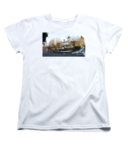 Women's T-Shirt (Standard Cut) featuring the photograph The Castle In Winter Light by Felicia Tica