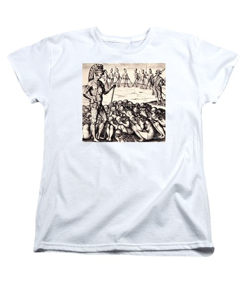 Women's T-Shirt (Standard Cut) featuring the drawing The Chieffe Applyed To By Women by Peter Gumaer Ogden