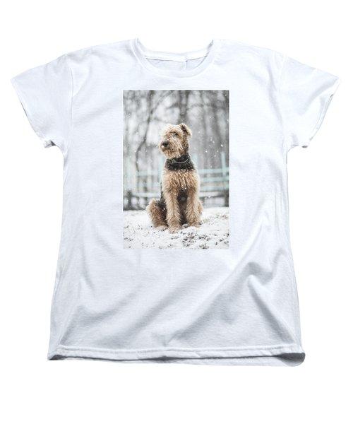 The Dog Under The Snowfall Women's T-Shirt (Standard Cut)
