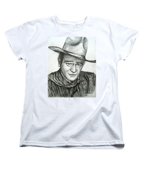 Women's T-Shirt (Standard Cut) featuring the drawing The Duke John Wayne by Patrice Torrillo