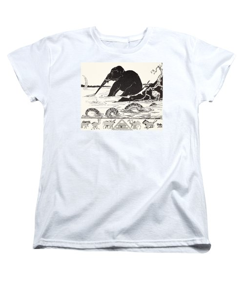 The Elephant's Child Having His Nose Pulled By The Crocodile Women's T-Shirt (Standard Cut) by Joseph Rudyard Kipling