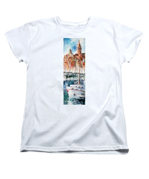 Women's T-Shirt (Standard Cut) featuring the painting The Ferry Arrives At Galata Port - Istanbul by Faruk Koksal