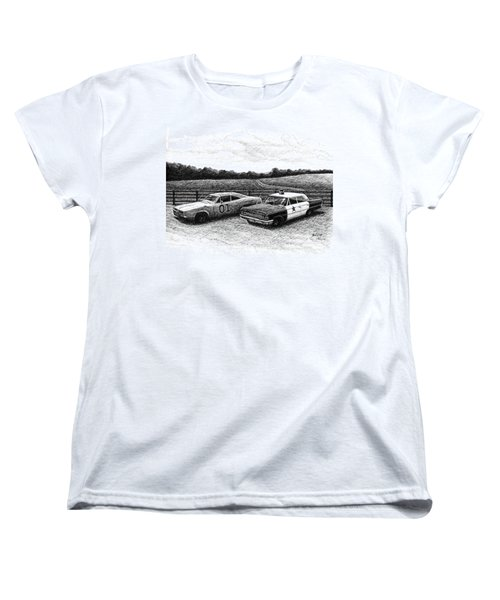 Women's T-Shirt (Standard Cut) featuring the drawing The General Lee And Barney Fife's Police Car by Janet King