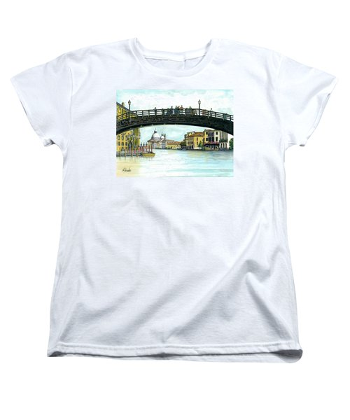 Women's T-Shirt (Standard Cut) featuring the painting The Grand Canal Venice Italy by Albert Puskaric