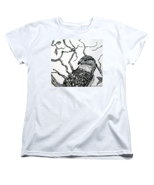 Women's T-Shirt (Standard Cut) featuring the drawing The Hawk by Alison Caltrider