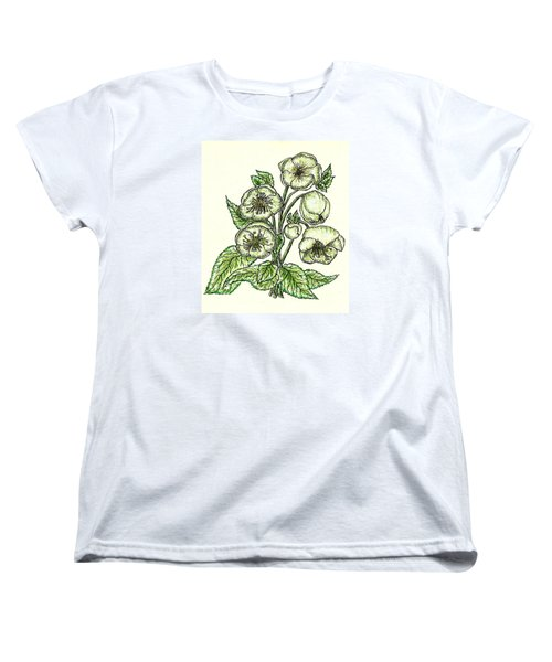 Women's T-Shirt (Standard Cut) featuring the drawing The Helleborous by VLee Watson