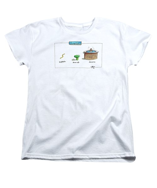 The Labels Beneath Images Of Spaghetti Women's T-Shirt (Standard Cut) by Farley Katz
