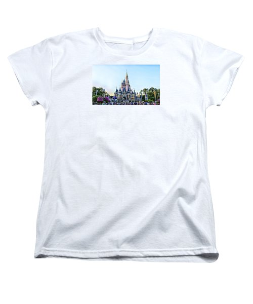 The Magic Kingdom Castle On A Beautiful Summer Day Horizontal Women's T-Shirt (Standard Cut) by Thomas Woolworth