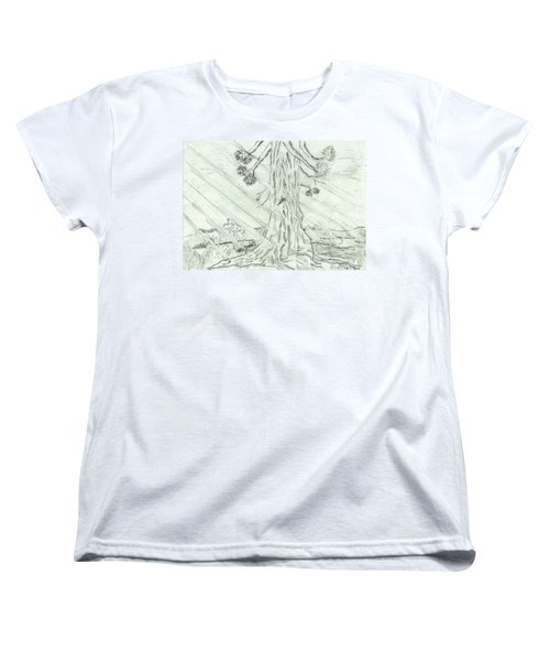 Women's T-Shirt (Standard Cut) featuring the drawing The Old Tree In Spring Light  - Sketch by Felicia Tica