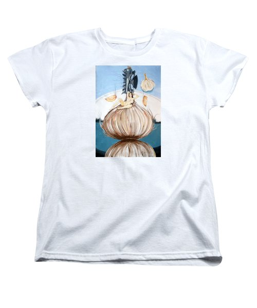 Women's T-Shirt (Standard Cut) featuring the painting The Onion Maiden And Her Hair La Doncella Cebolla Y Su Cabello by Lazaro Hurtado