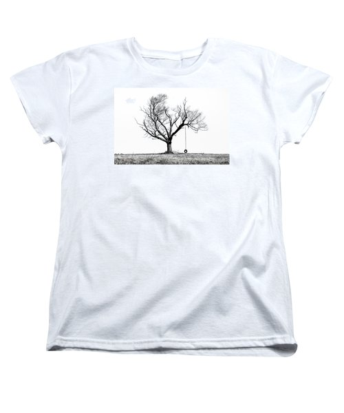 The Playmate - Old Tree And Tire Swing On An Open Field Women's T-Shirt (Standard Cut) by Gary Heller