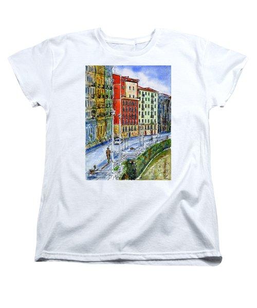 The Riverside Houses At Bilbao La Vieja Women's T-Shirt (Standard Cut) by Zaira Dzhaubaeva