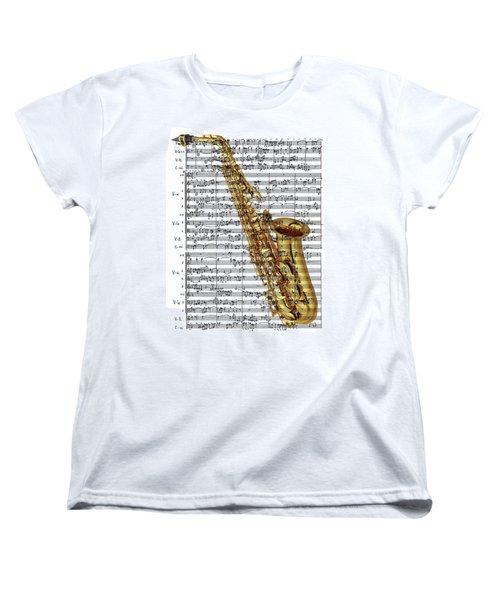 The Saxophone Women's T-Shirt (Standard Cut) by Ron Davidson