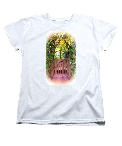 The Secret Gardens Gate Women's T-Shirt (Standard Cut) by Becky Lupe