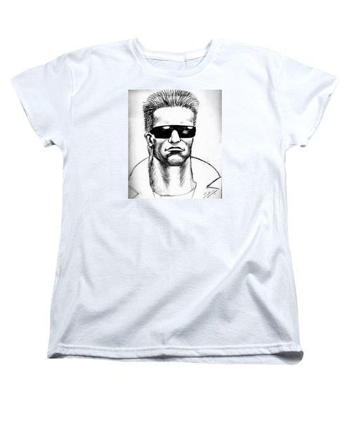 Women's T-Shirt (Standard Cut) featuring the painting Arnold Schwarzenegger by Salman Ravish