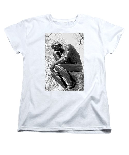 The Thinker In Black And White Women's T-Shirt (Standard Cut) by Lisa Phillips