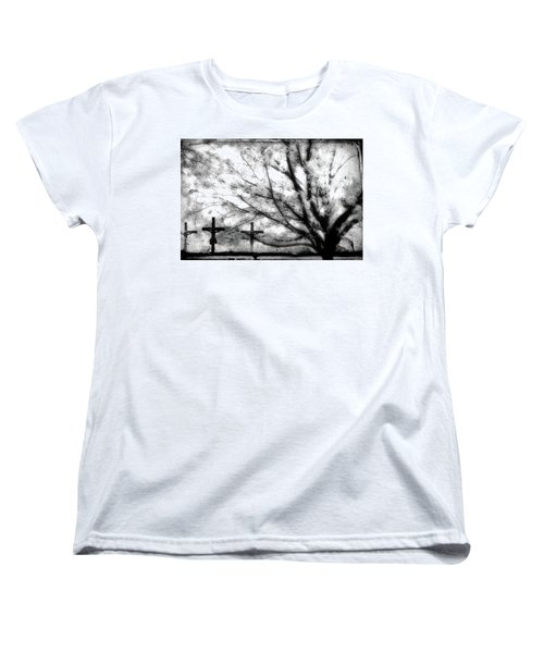 Women's T-Shirt (Standard Cut) featuring the painting The Veil Was Torn by Gray  Artus