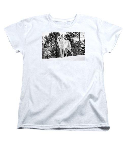 The Wolf  Women's T-Shirt (Standard Cut) by Fran Riley